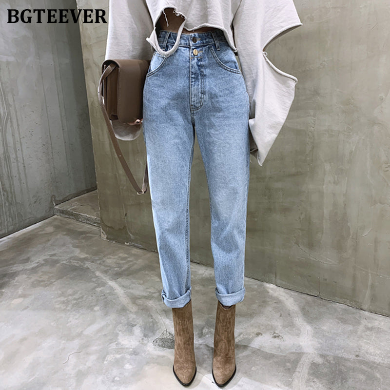 BGTEEVER Vintage High Waist Straight Jeans Pant for Women Streetwear Loose Female Denim Jeans Buttons Zipper Ladies Jeans