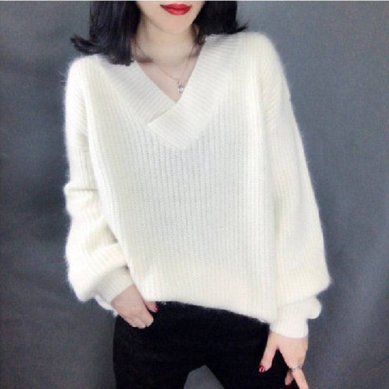Women's Sweater 2019 Autumn Winter Pullover V-neck Long Sleeve loose Outerwear