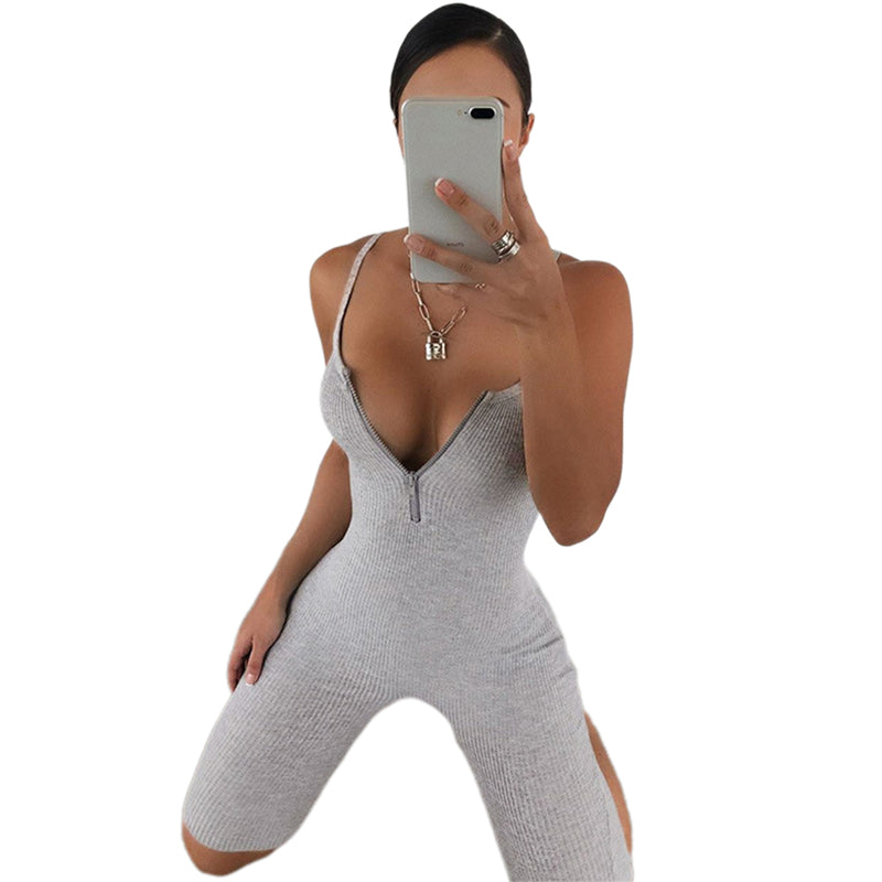 Women Sleeveless Tank Jumpsuit Zipper Rompers Playsuit Bodycon Slim Solid Stretch Grey Black Jumpsuit Shorts Pants Trousers