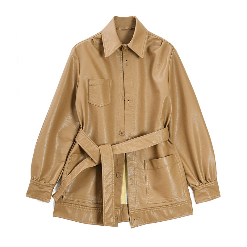 EAM Loose Fit Khaki Pu Leather Bandage Temperament Jacket Lapel Long Sleeve Women Coat Tide Spring 1S711