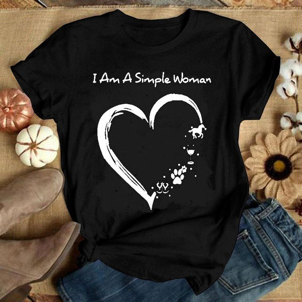 2020 Hot Summer Valentine's Day Lovely Printing Size S-3XL Short-Sleeved  Women's t-shirt for Girls