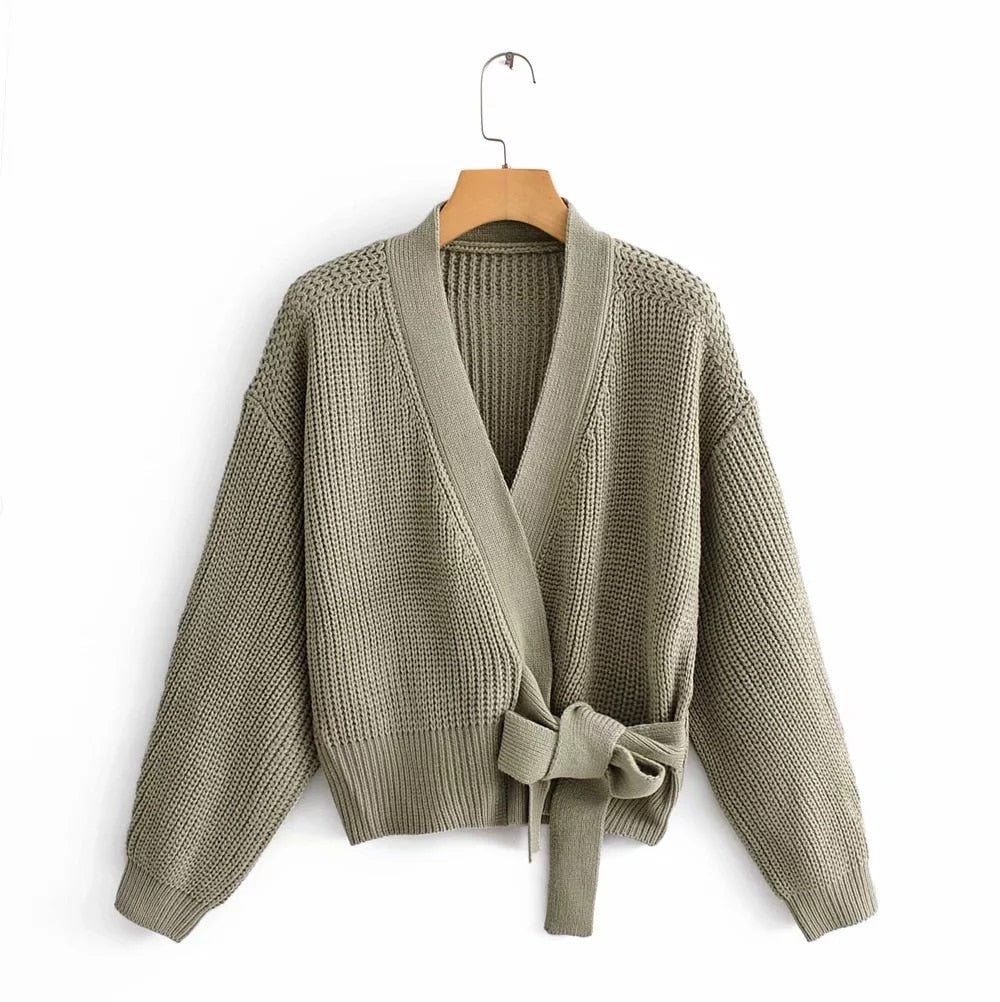 Womens green Sweater long sleeve Female Winter Cardigan with sashes chic Streetwear Womens Knit Top Sweater