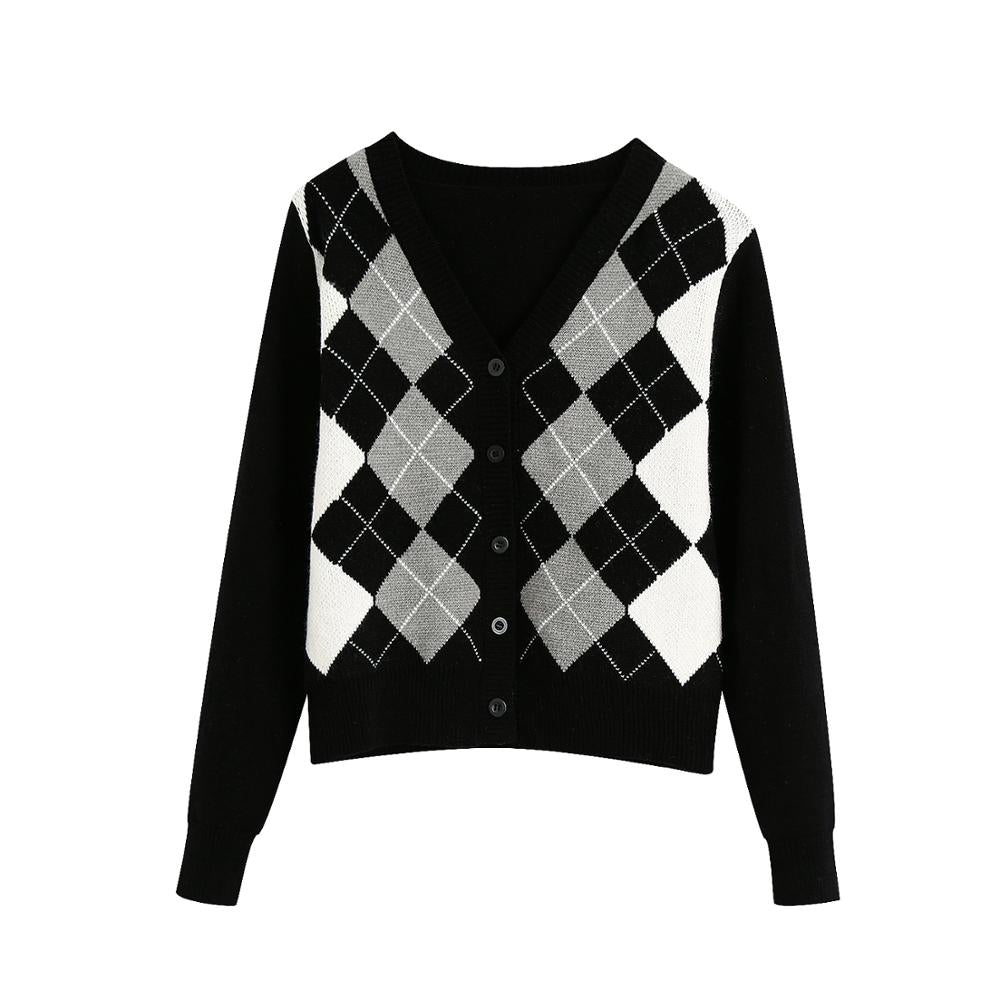 TRAF Women Cardigan Vintage Stylish Geometric Pattern Short Knitted Sweater Long Sleeve England Outerwear Chaqueta