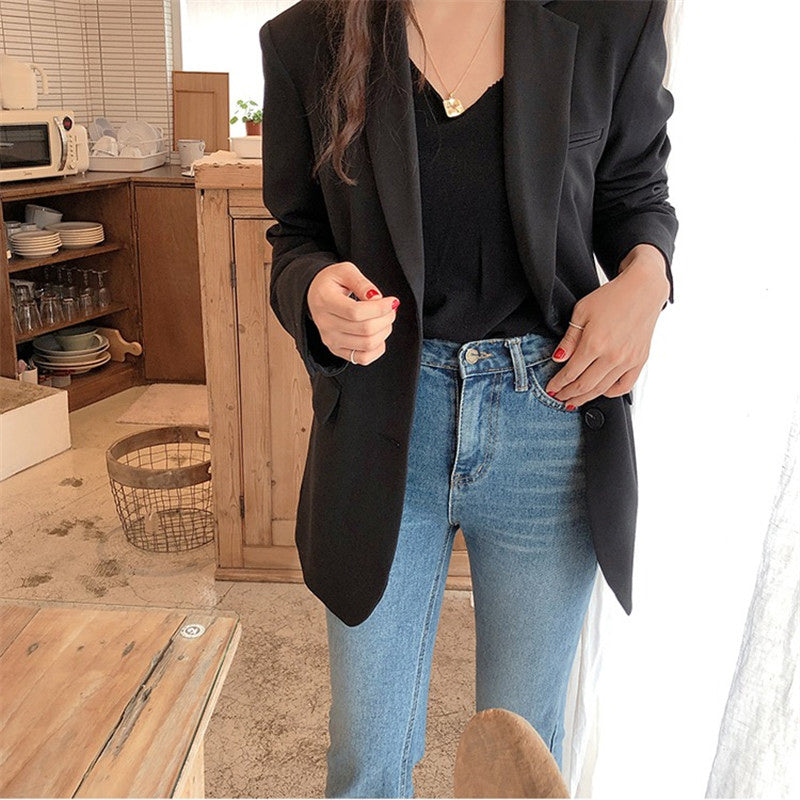 Aelegantmis Spring New Fashion Blazer Jacket Women Casual Pockets Long Sleeve Work Suit Coat Office Lady Solid Slim Blazers 2020