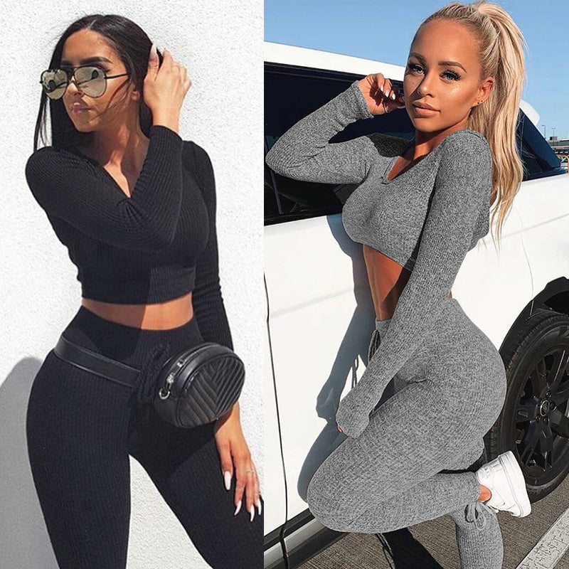 Sexy V Neck Knitted Tracksuit Two Piece Set Autumn Winter Long Sleeves Crop Tops And Long Tight Pants 2 Piece Outfits For Women