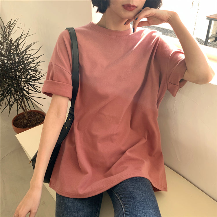 Colorfaith 6 Colors Women T-shirt Casual Short Sleeve Loose Bottoming Solid Female O-Neck Basic Tops Shirt Ladies T6789