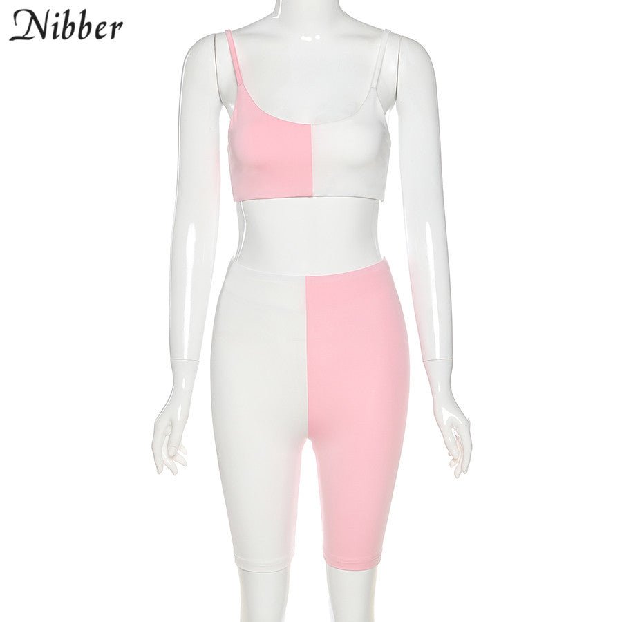 Nibber casual Sports style two colors patchwork 2 piece set female summer sleeveless elastic activity set street simple clother