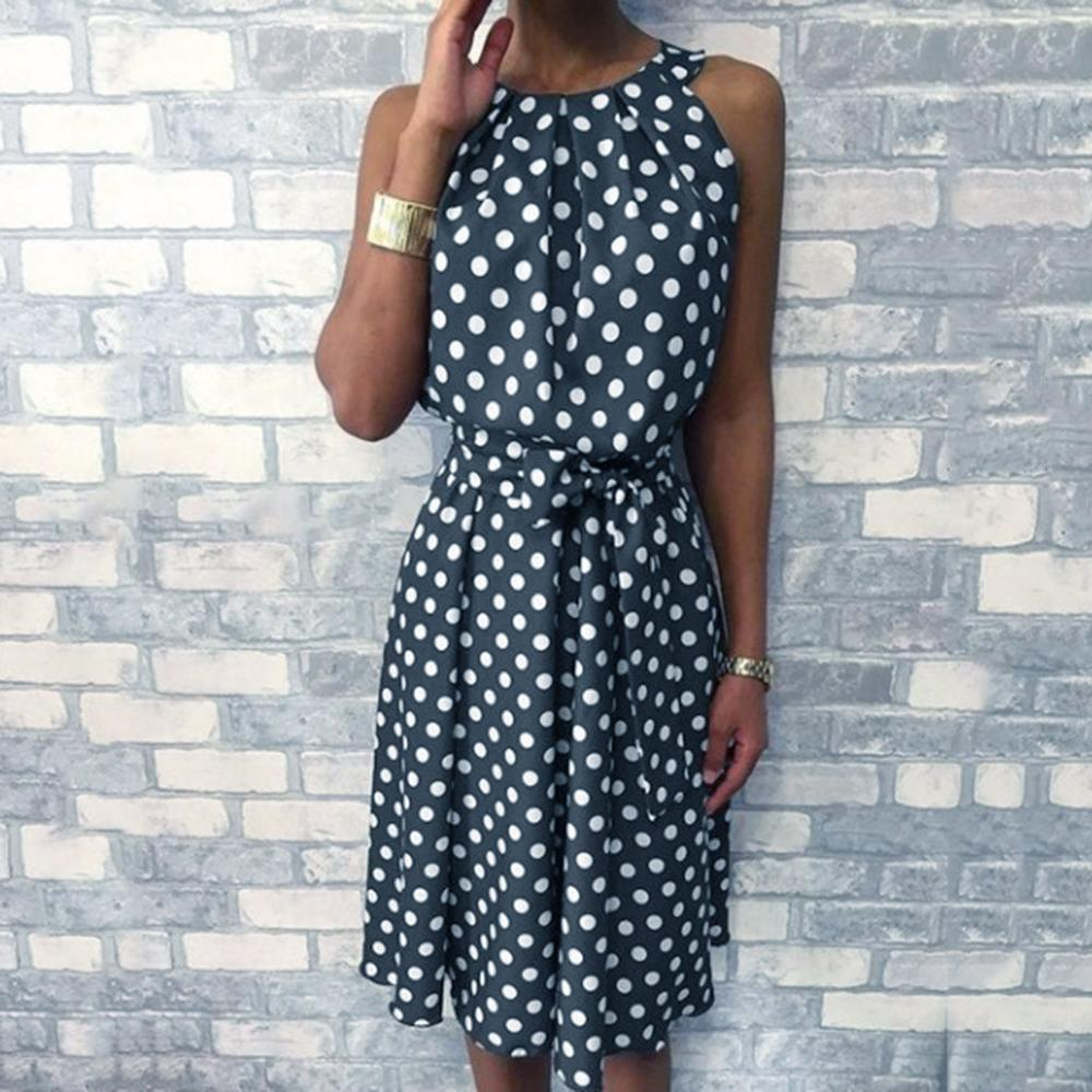 Dot Printing Long Dress Women Sleeveless Halter Neck Coffee Casual Dresses Lady Summer Beach Party Dress Sundress Vestidos
