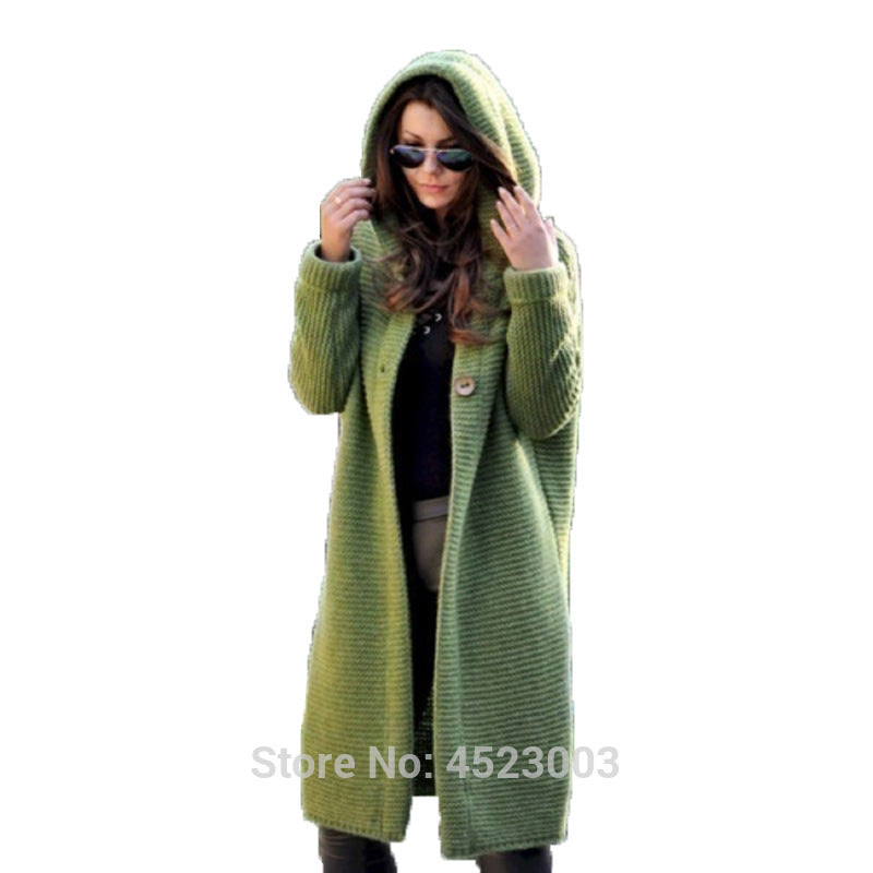 Women Hooded Cashmere Long Cardigan Knitted Winter Sweater Female Women Sweater Pocket Cardigan Coat