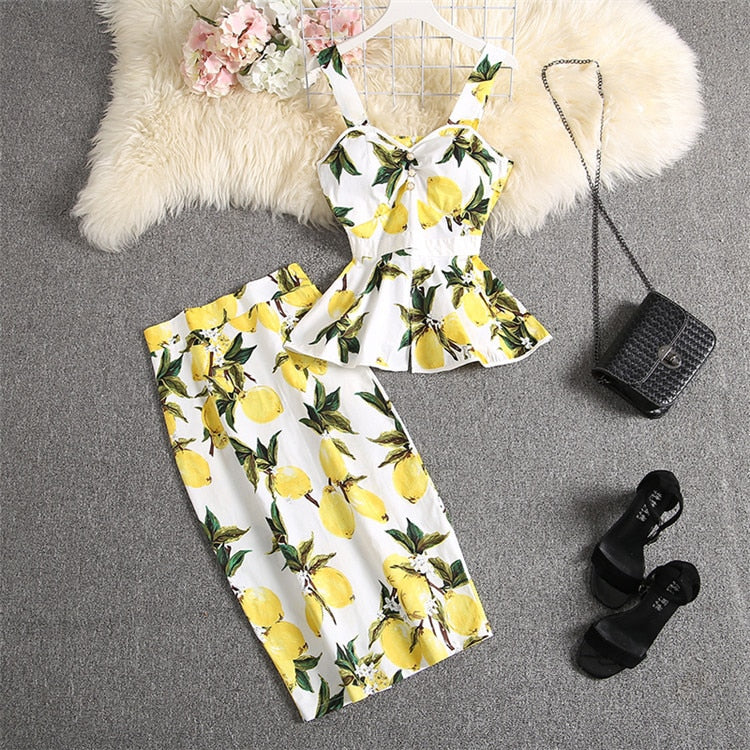 ALPHALMODA Sweet Tank Top + Straight Skirt Women 2pcs Suit Ruffled Printed Blouses Outfit Knee Length Skirt Set