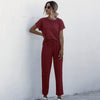 sale 2pcs Women Summer Tracksuits Set Lounge Wear Short Sleeve Tops Long Pants Sweat Suits Elastic Waist Casual Solid