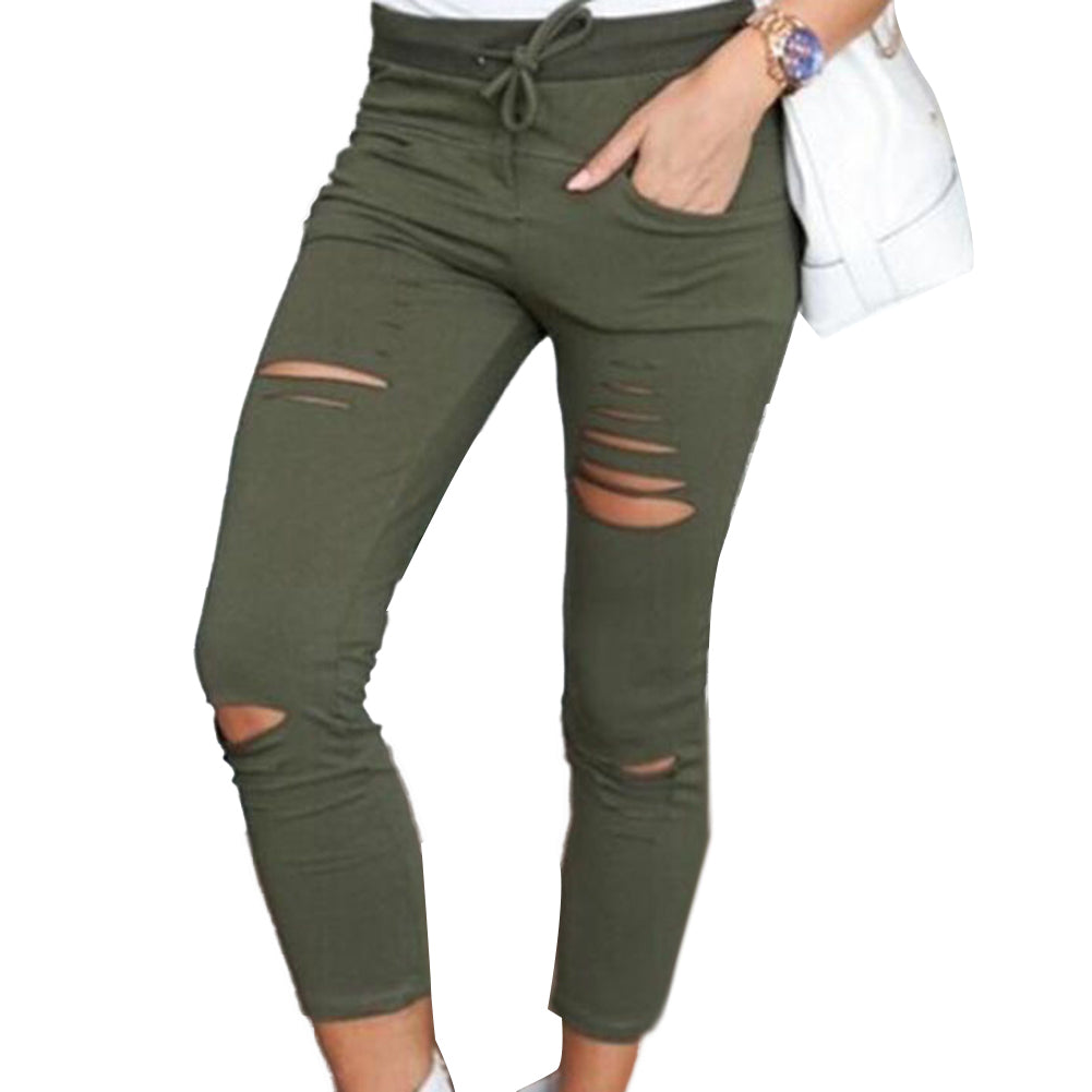 Plus Size Solid Color Womens trousers Drawstring High Waist Pencil Pants Ripped Skinny Womens trousers sports pants Leggings