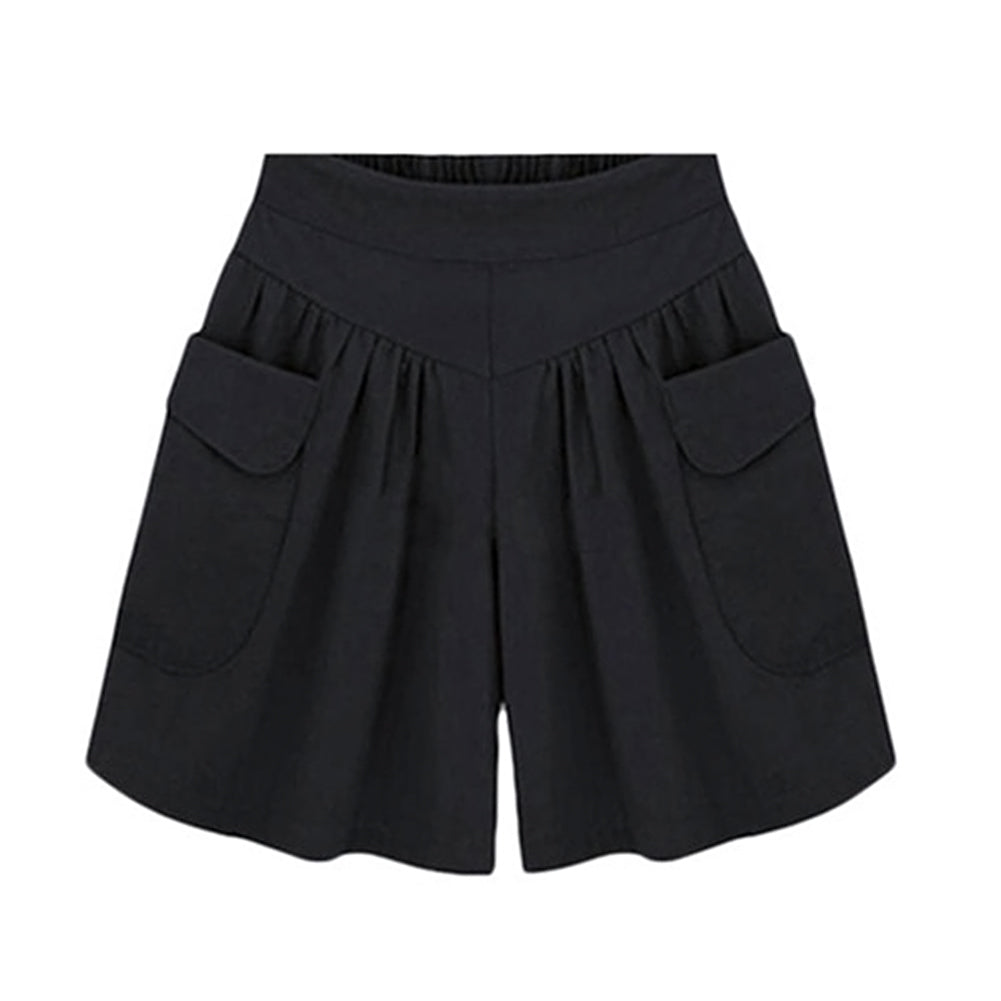 Summer Women Plus Size Solid Color Elastic Waist Casual Loose Shorts with Pocket