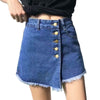 Women Irregular Buttons Denim Short High Waist Slim Solid Pocket Female Jeans Skirt Summer Casual Shorts