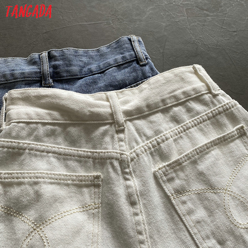 Tangada women elegant summer white denim shorts button pockets female retro basic casual jeans shorts pantalones ASF57