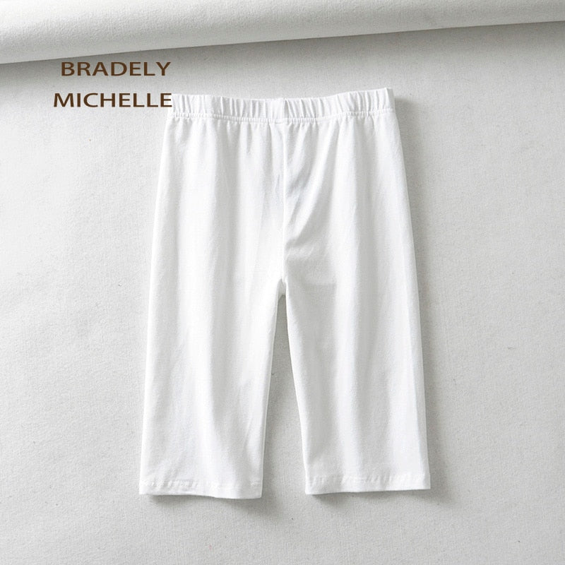 BRADELY MICHELLE sexy women cotton high waist elastic pure color slim Knee-Length bikeshorts leggings female