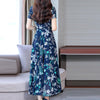 JAYCOSIN Autumn Casual Fit And Flare Maxi Dress Elegant O Neck Short Sleeve Flower Print Women Sexy Winter Fashion Dresses 2019