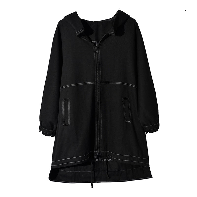 EAM Women Drawstring Line Stitch Oversize Trench Hooded Long Sleeve Loose Fit Windbreaker Spring Autumn 1A8260 (Black One Size)