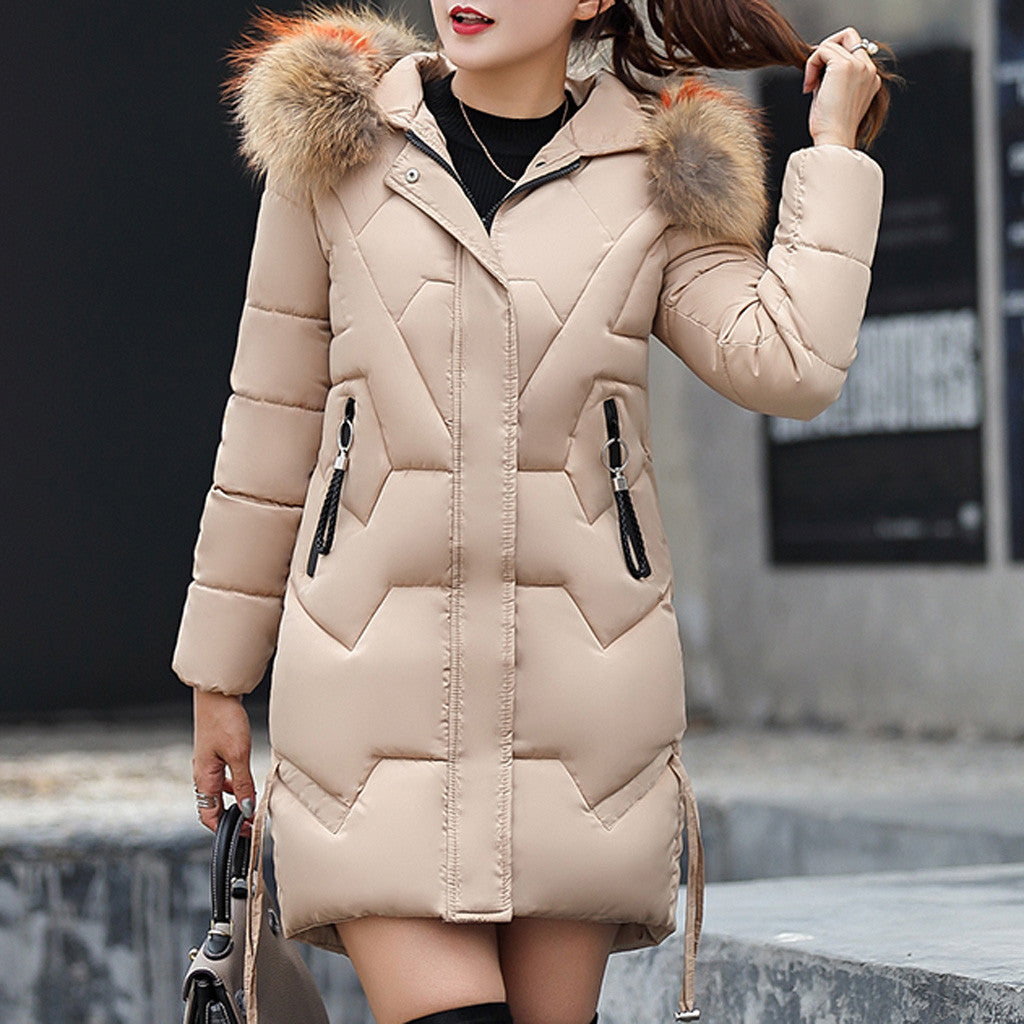 coat women fashion Girls Slim Long Warm Coat Cotton Jacket Thickened Hooded Collar Winter coats chaquetas mujer #guahao