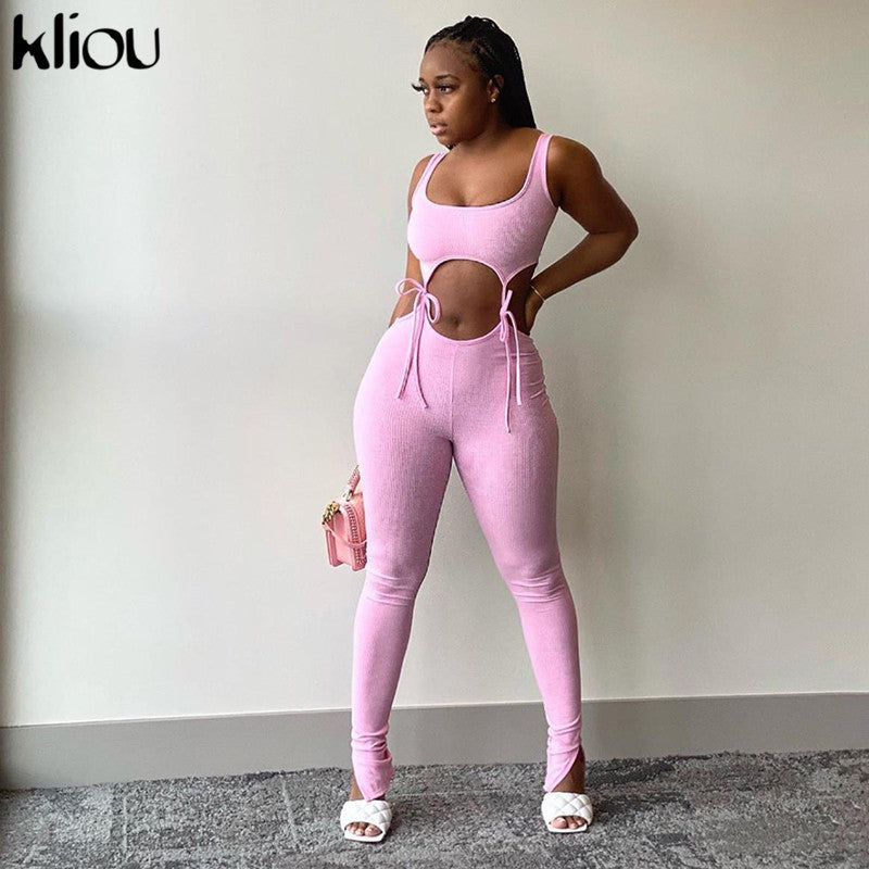 Kliou bandage crop top+leggings two piece set women solid sleeveless elastic hight skinny female outfit fashion slim streetwear
