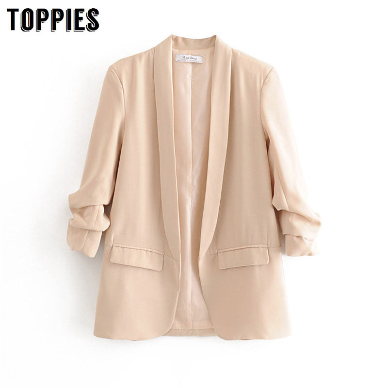2020 Spring Summer Thin Jacket Women Suits Solid Color Long Blazer Office Ladies Cardigan Coat Three Quarter Sleeve
