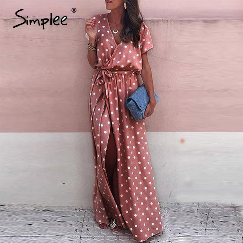 Simplee Sexy V Neck Polka Dot Long Dress Women 2020 Summer Casual High Waist Split Dress Holiday Beach Dress Plus Size Vestidos