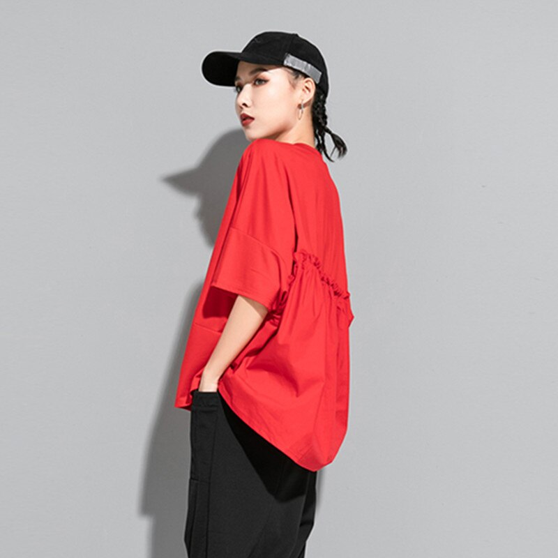 [EAM] Women Green Red Back Ruffles Split Big Size T-shirt New Round Neck Half Sleeve  Fashion Tide  Spring Summer 2020 1U507