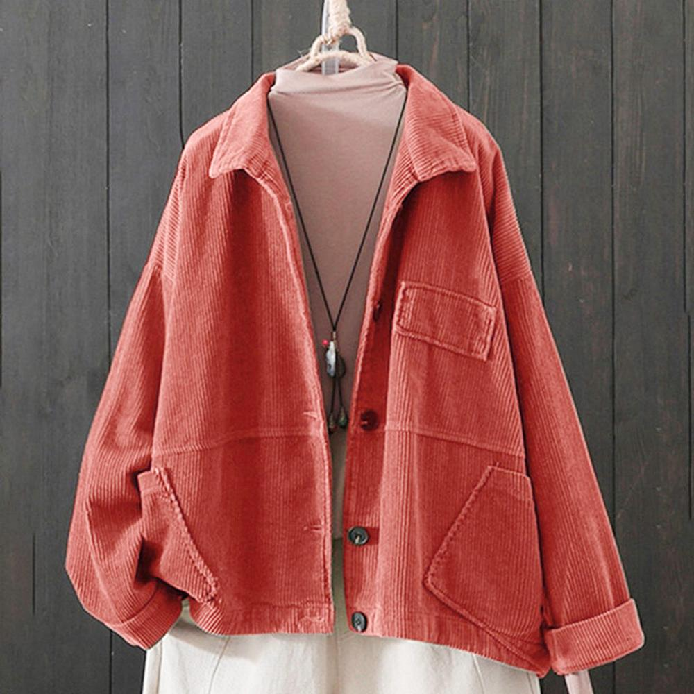 Women Solid Cardigan Corduroy Crop Top Lapel Pocket Long Sleeve Long Autumn Coat Loose Casual OutwearJacket H1