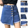 Women Irregular Buttons Denim Short High Waist Slim Solid Pocket Female Jeans Skirt Summer Fashion Casual Shorts
