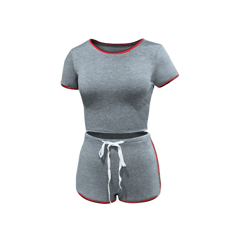 Women 2PCS Set Short Sleeve Top Fitness Shorts Run Gym Sports Clothes Suit Sweatsuit Summer Pullover outfit Tracksuits