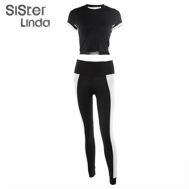 Sisterlinda Striscia Patchwork Fitness Tracksuit Set Wwomen Short Sleeve Sports Tops T-Shirts Slim Leggings Streetwear Outfits