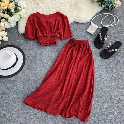 Summer Single Breasted Red Black Two Piece Set Elegant Short Sleeve V Neck Chic Tops And Mid-Calf Skirt Female 2 Piece Set