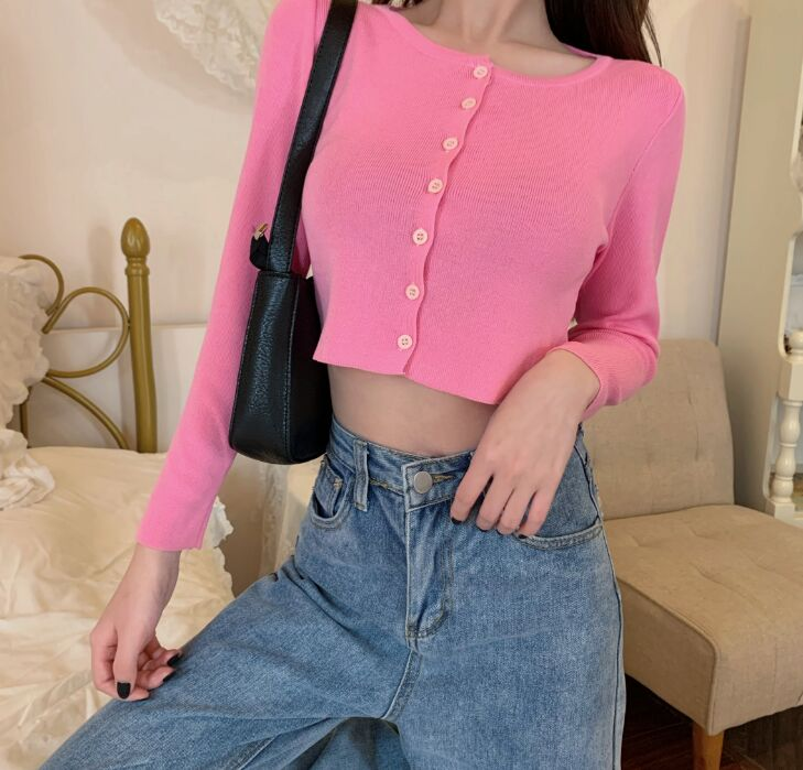 Women O-Neck Knitted Full Sleeve Cropped Sweaters Cardigans Lady Knit Short Stretchy Thin Summer Knitwear Top for Female