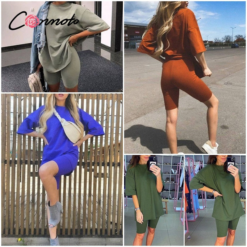 Conmoto  Casual solid new women's two piece suit including belt solid color home loose sports fashion leisure suit summer 2020