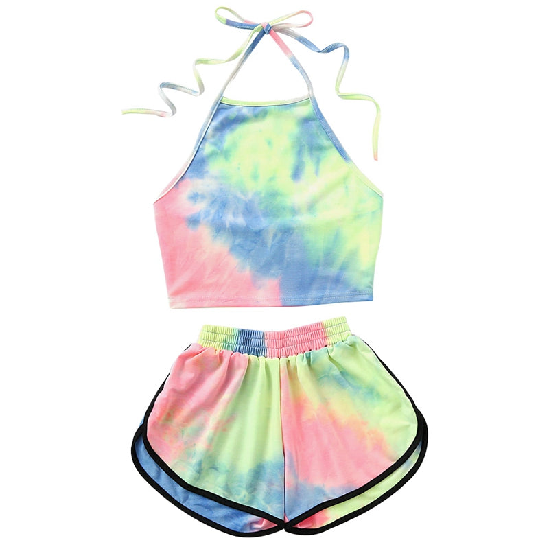 Fashion Outfit Tracksuit Tie-Dye Gradient Halter Crop Top and Shorts Two 2 piece set Women Summer New Fashion Tank Suits