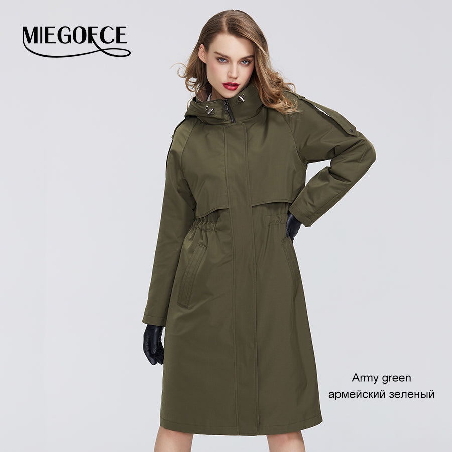 MIEGOFCE Spring Trench Collection Designer Women Cloak Warm Windproof Coat with Resistant Collar with Hood Windbreaker