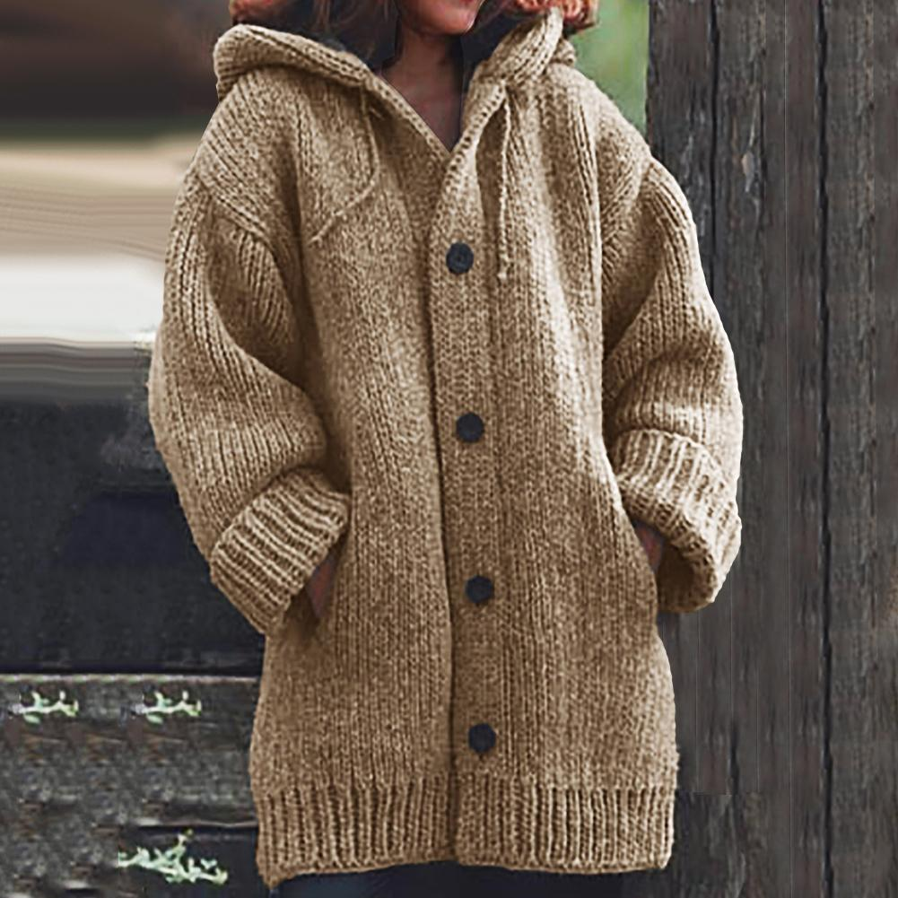 Coat of angora Women Cardigans Sweater Solid Loose Knitwear Single Breasted Casual Knit Cardigan Outwear Winter Jacket Coat