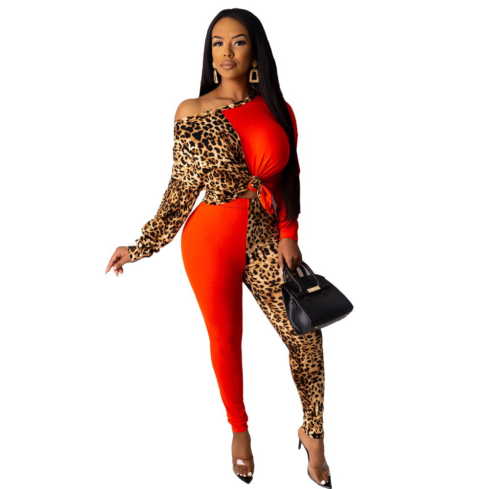 2020 Winter Women Sets Full Sleeve Leopard Print Tops+Pants Suits Two Piece Set Night Club Sporty Tracksuits Sexy Outfits GL3199