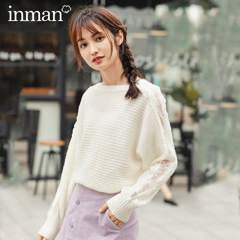 INMAN 2020 Spring New Arrival Literary Round Collar Splicing Lace Hollow Out Pullover Loose Pure and fresh Sweater