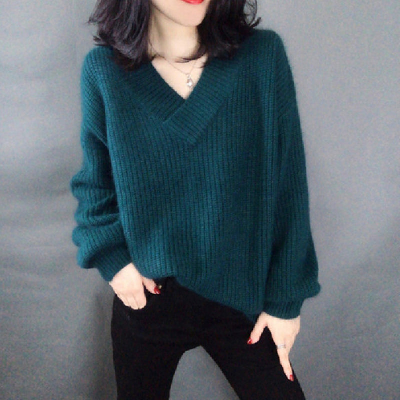 Women's Sweater Autumn Winter Pullover V-neck Long Sleeve loose Outerwear