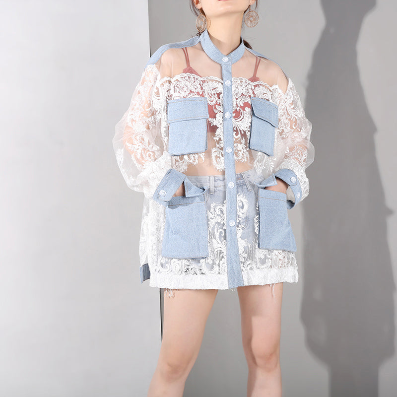 [EAM] Loose Fit Blue Perspective Denim Big Pocket Jacket New Lapel Long Sleeve Women Coat Fashion Tide Spring Autumn 2020 JU301