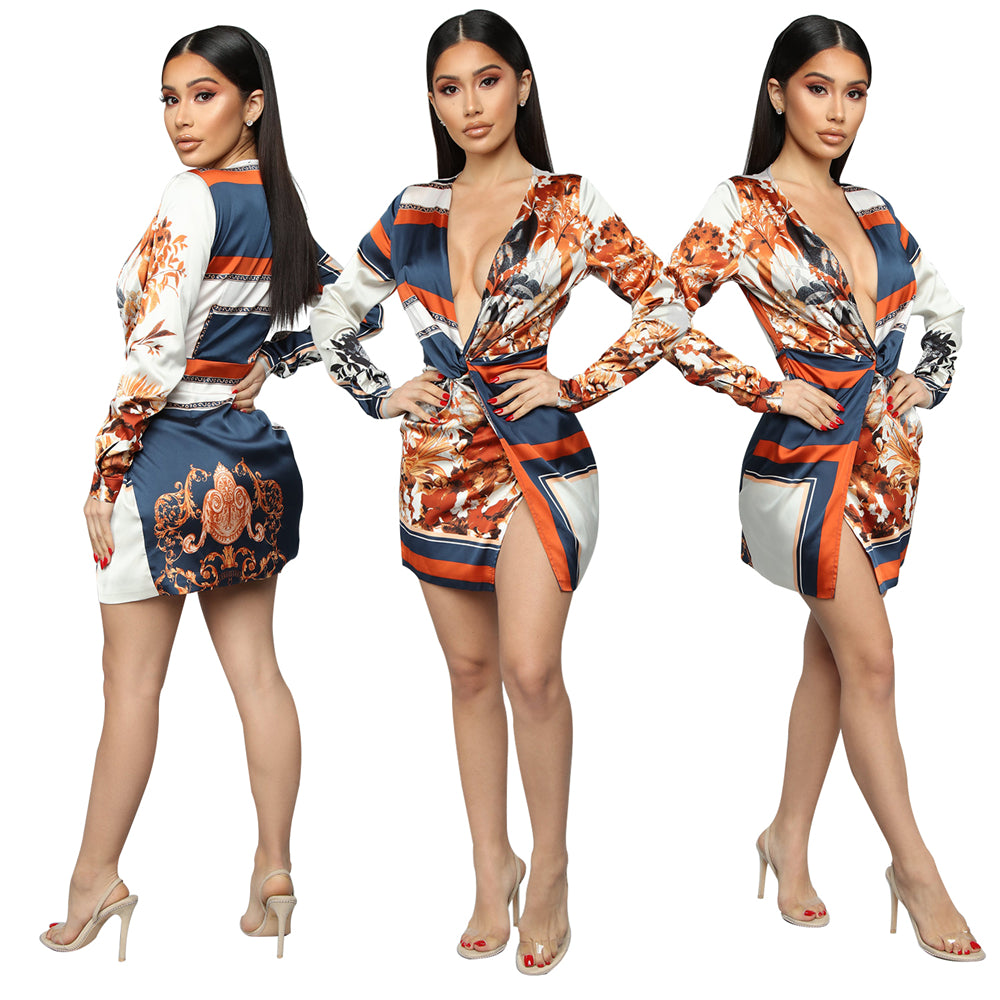 Zoctuo Women Fashion Print Sexy V-neck Dress Full Sleeve Ladies Mini Dress Middle Waist Basic 2020 Summer Party Dress