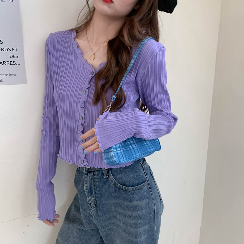 Women V-Neck Knitted Casual Ruched Short Sweaters Cardigans Lady Knitting Soft Thin Summer Cardigan Outwear for Female