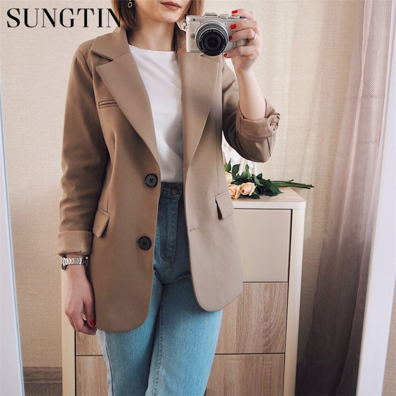 Sungtin New Spring Women Blazer Jacket Casual Khaki Work Suit Coat Office Lady Fashion Pockets Long Sleeve Slim Blazers Female