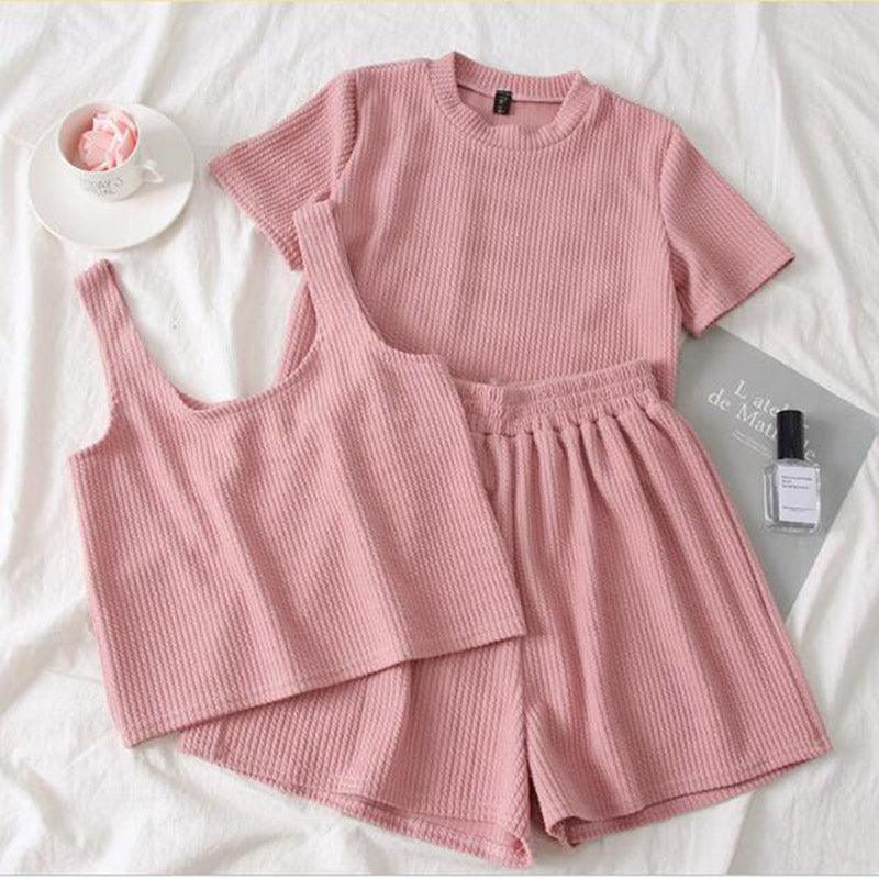 Heliar Pink O-Neck T-Shirt And Shorts And Camis Women Three Pcs Sets Pants Sets Femme Female Outfits Summer Suits Women