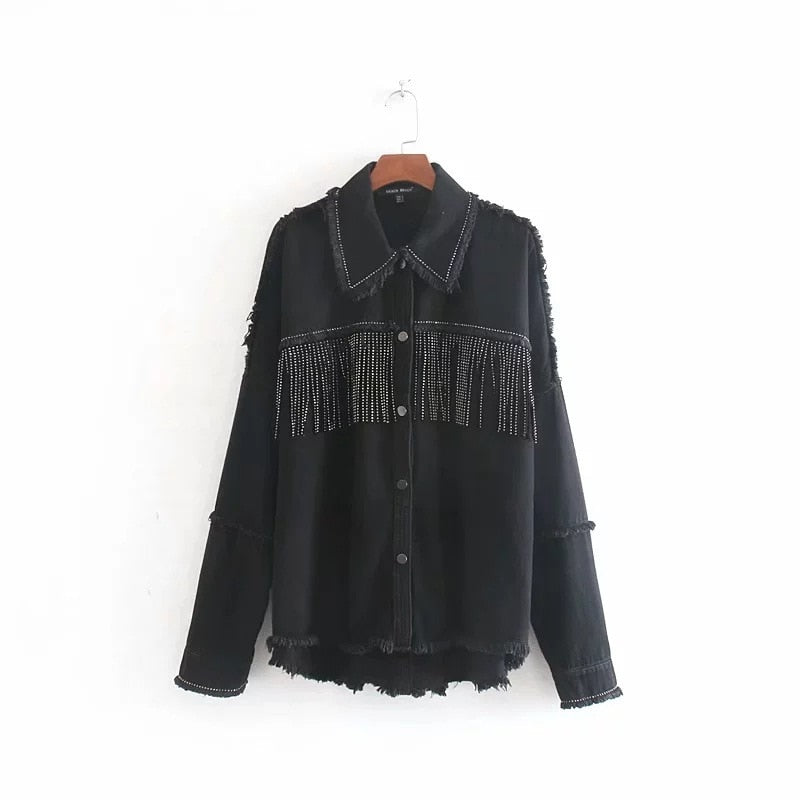 Toppies Spring tassels for breast Denim Jacket Loose Army Green Button Coat Woman Jeans Jacket Irregular Hem Streetwear