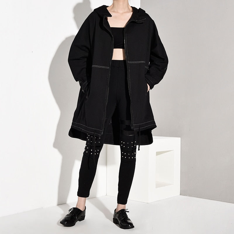 [EAM] Women Drawstring Line Stitch Oversize Trench Hooded Long Sleeve Loose Fit Windbreaker Fashion Spring Autumn 2020 1A8260