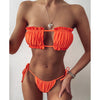 Bikini Pleated Bandeau Swimsuit Female Swimwear Women Mini Thong Bikini Set Bather Swimming Beachwear for Bathing Suit