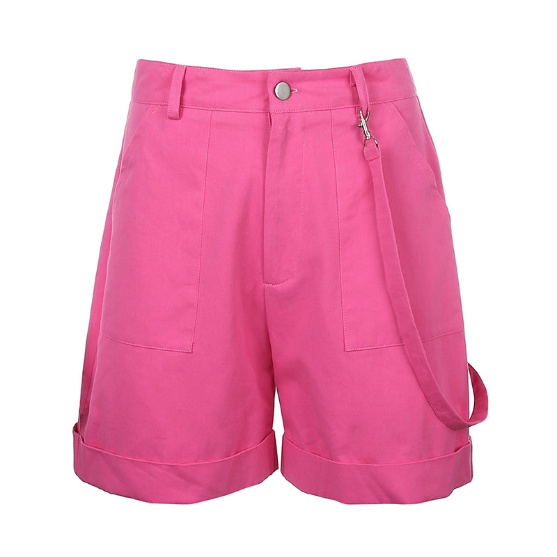 HEYounGIRL Pink Casual Cargo Short Pants Women Harajuku High Waist Shorts with Strips Pockets Loose Shorts High Street
