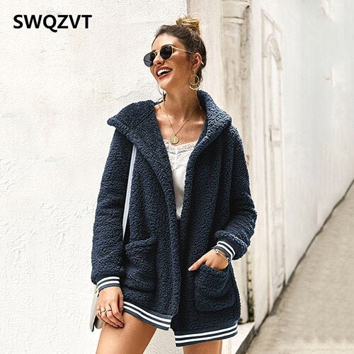Cardigan fleece jacket women autumn winter hooded basic ladies jackets warm pink thick women fur coat outwear clothes DR835